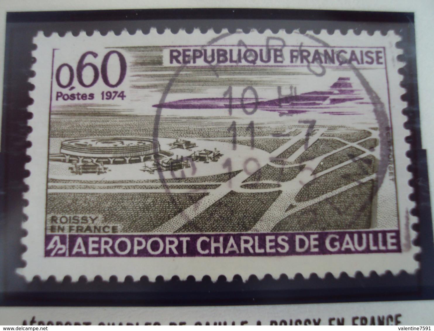 """70-79- Timbre Oblitéré N°   1787   """"  Aéroport Charles De Gaulle      """"  0.50 - France"""