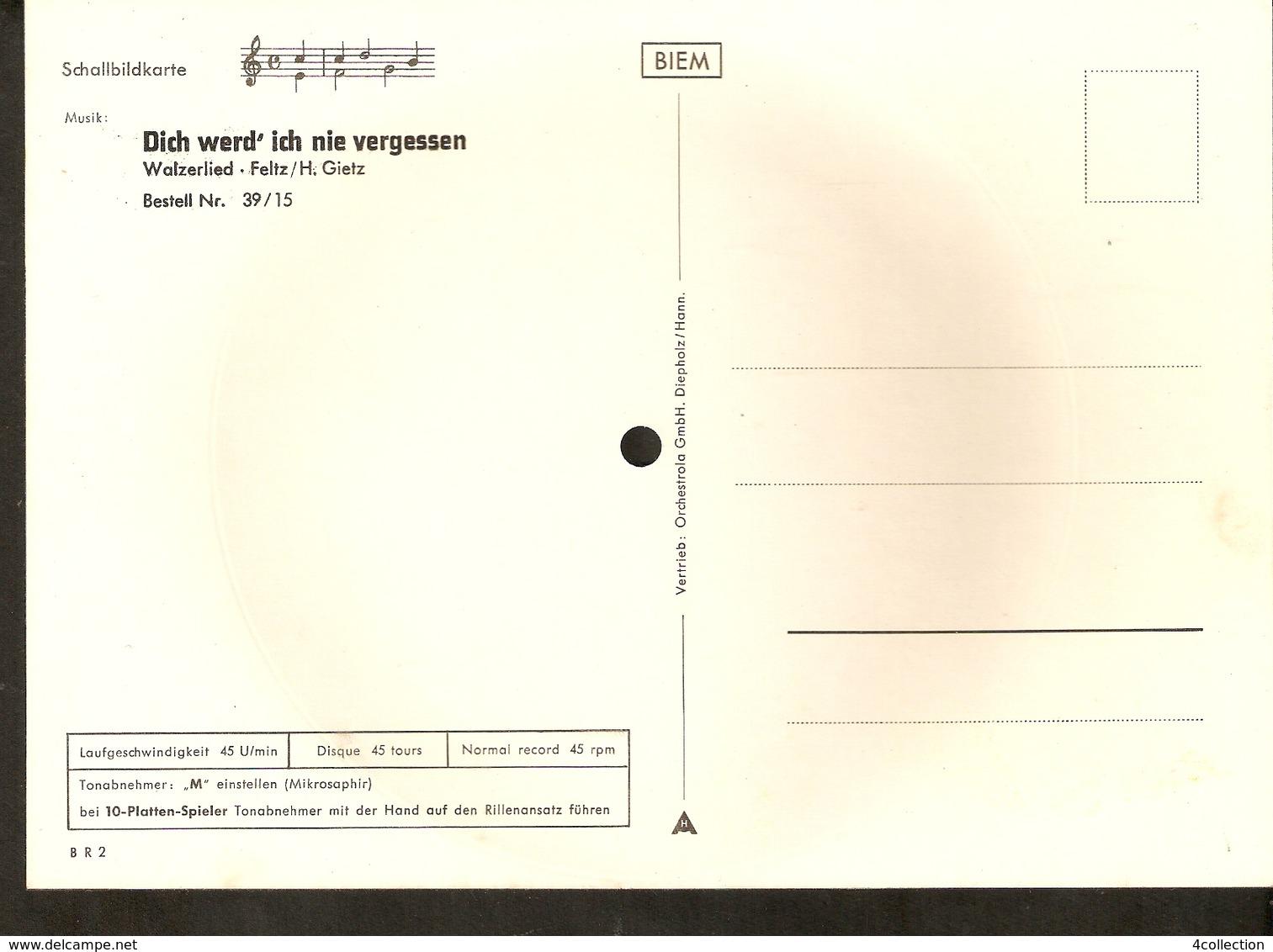 Old Musical 45rpm Record Postcard Schallbildkarte Roses Walzerlied Feltz Gietz Dich Werd' Ich Nie Vergessen - Unclassified