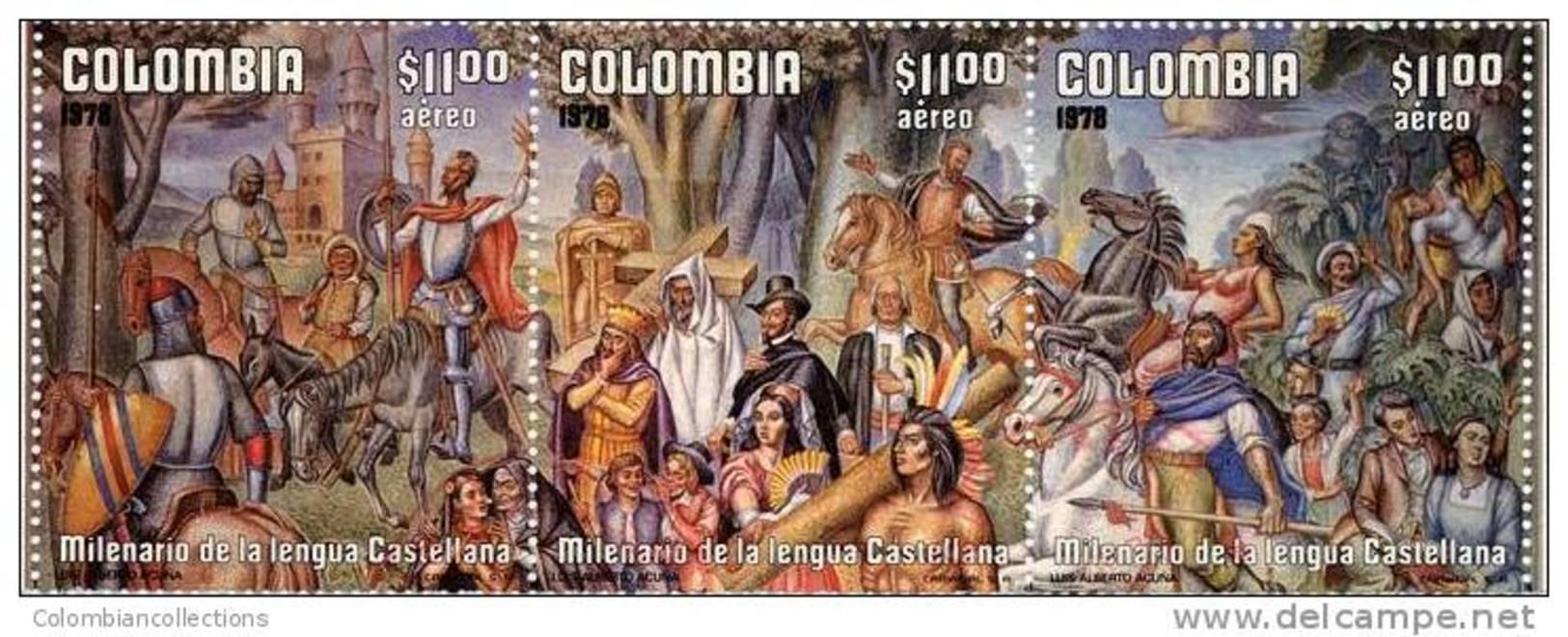 Lote 44f, Colombia, 1978, Milenario De La Lengua Castellana, El Quijote Y Sancho, El Cid, 3 Sellos - Colombie