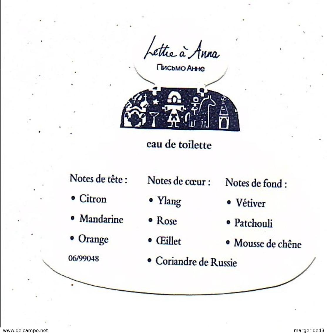 PUB PARFUM LETTRE A ANNA - Perfume Cards