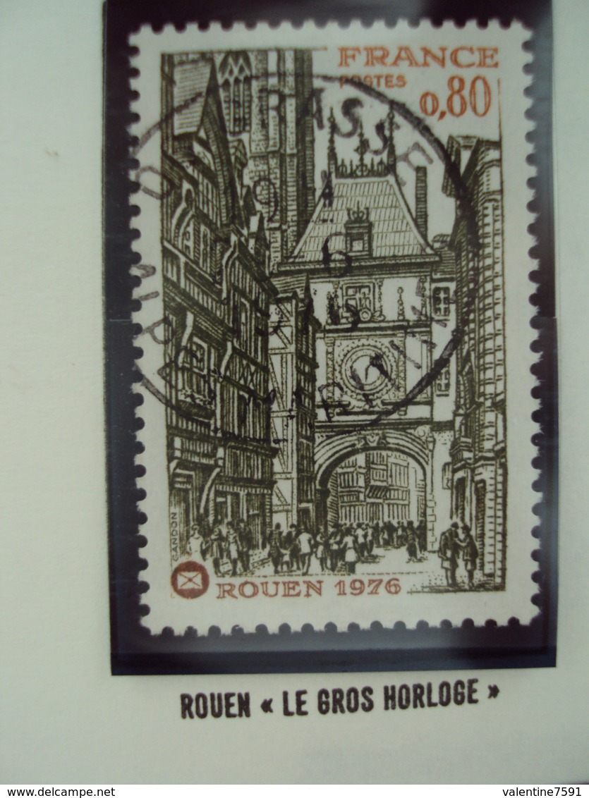 """70-79- Timbre Oblitéré N°1875      """" Rouen, Le Gros Horloge       """"   0.20 - France"""