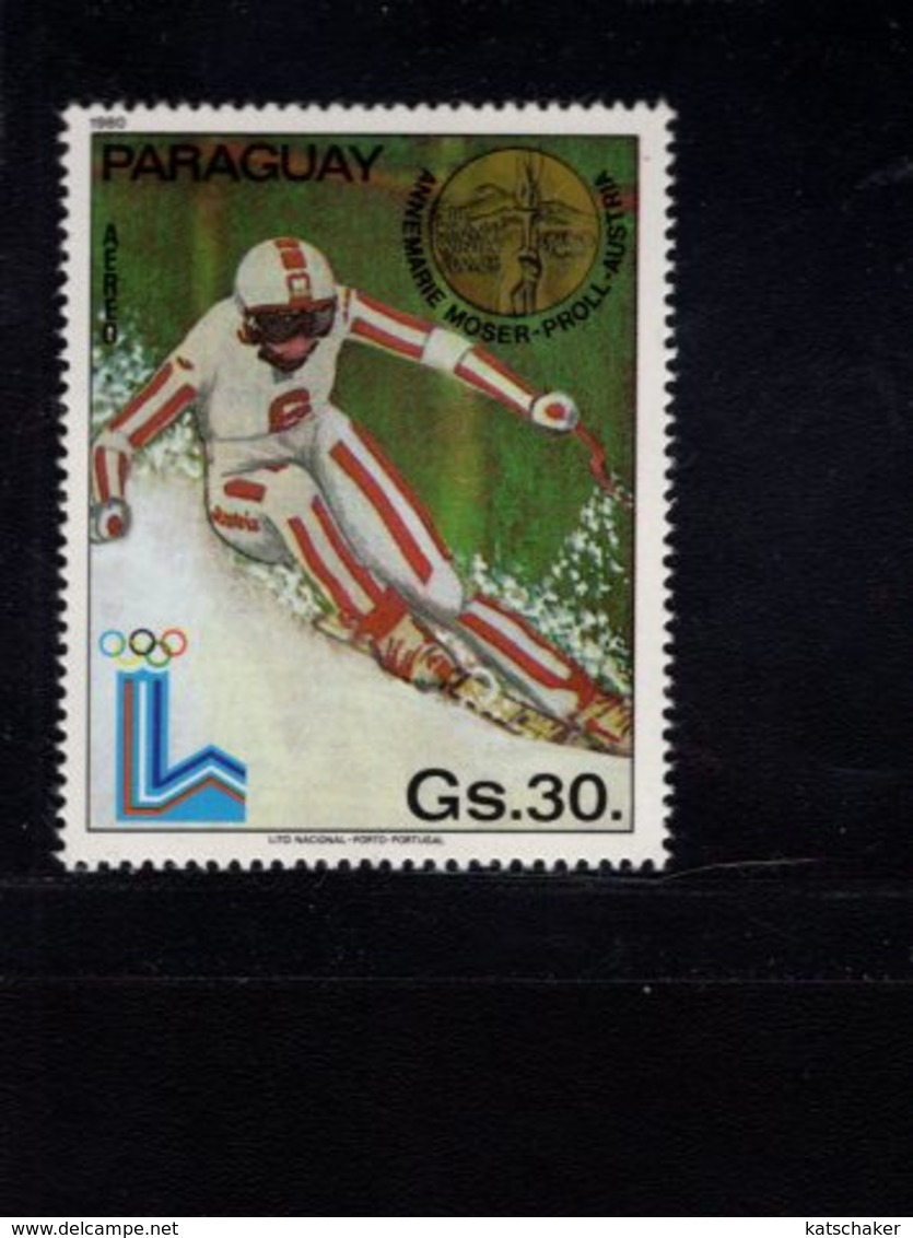 739907276  POSTFRIS MINT NEVER HINGED POSTFRISCH EINWANDFREI  SCOTT 1988 WINTER OLYMPICS LAKE PLACID - Paraguay