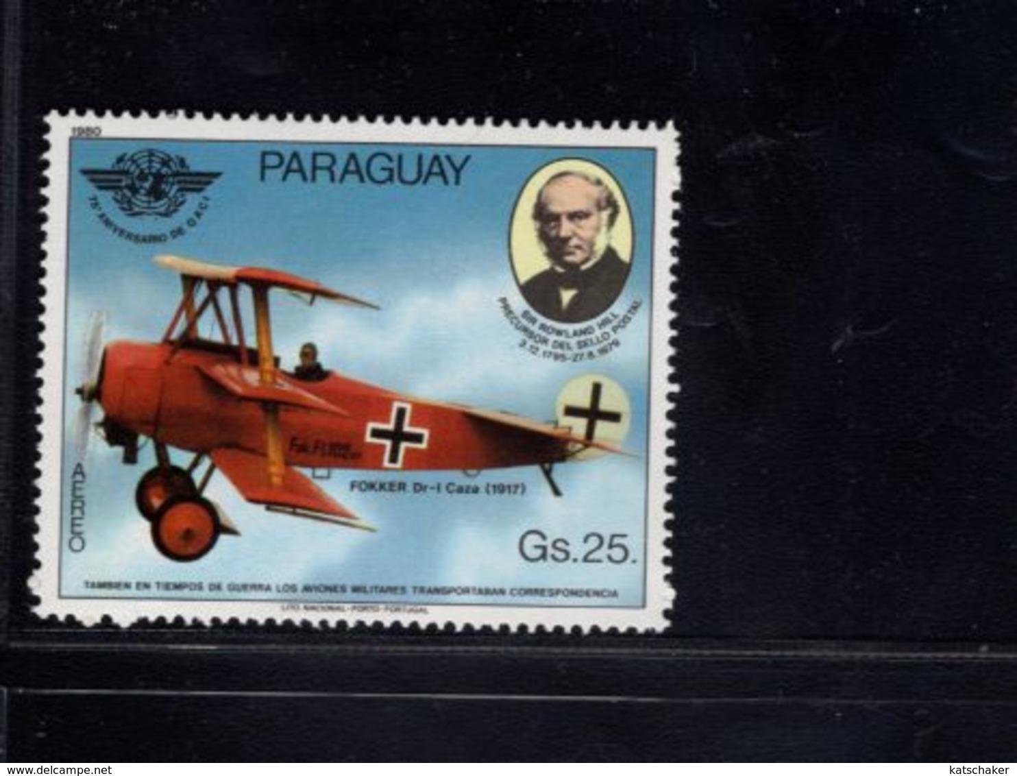 739908629  POSTFRIS MINT NEVER HINGED POSTFRISCH EINWANDFREI  SCOTT 1940 AIRPLANE FOKKER - Paraguay