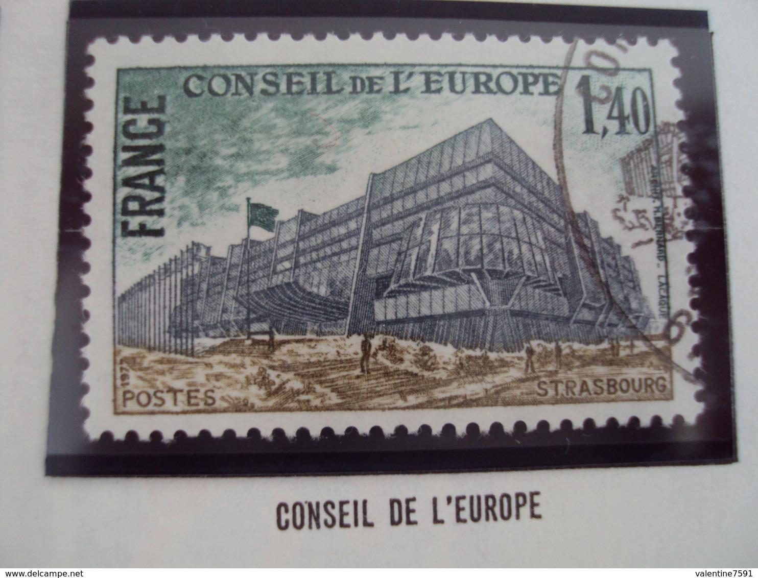"""70-79- Timbre Oblitéré N°  Service 55   """" Conseil Europe  1.40 F       """"    0.60 - Oblitérés"""