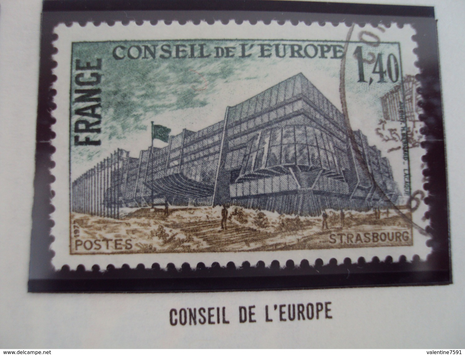 "70-79- Timbre Oblitéré N°  Service 55   "" Conseil Europe  1.40 F       ""    0.60 - Service"
