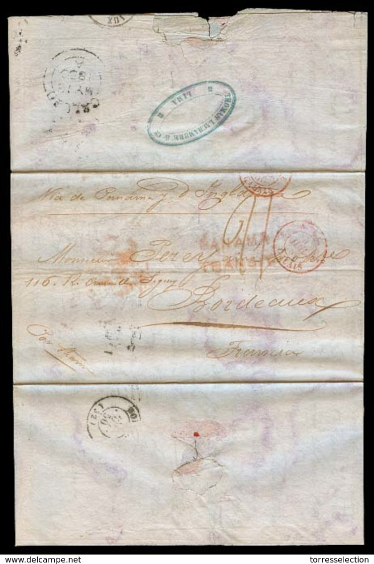 CHILE. 1850 (28 April). Santiago - Lima - Callao BPO - Panama - France. EL Full Contains Fwded To Lima By Thomas Lachamb - Chile