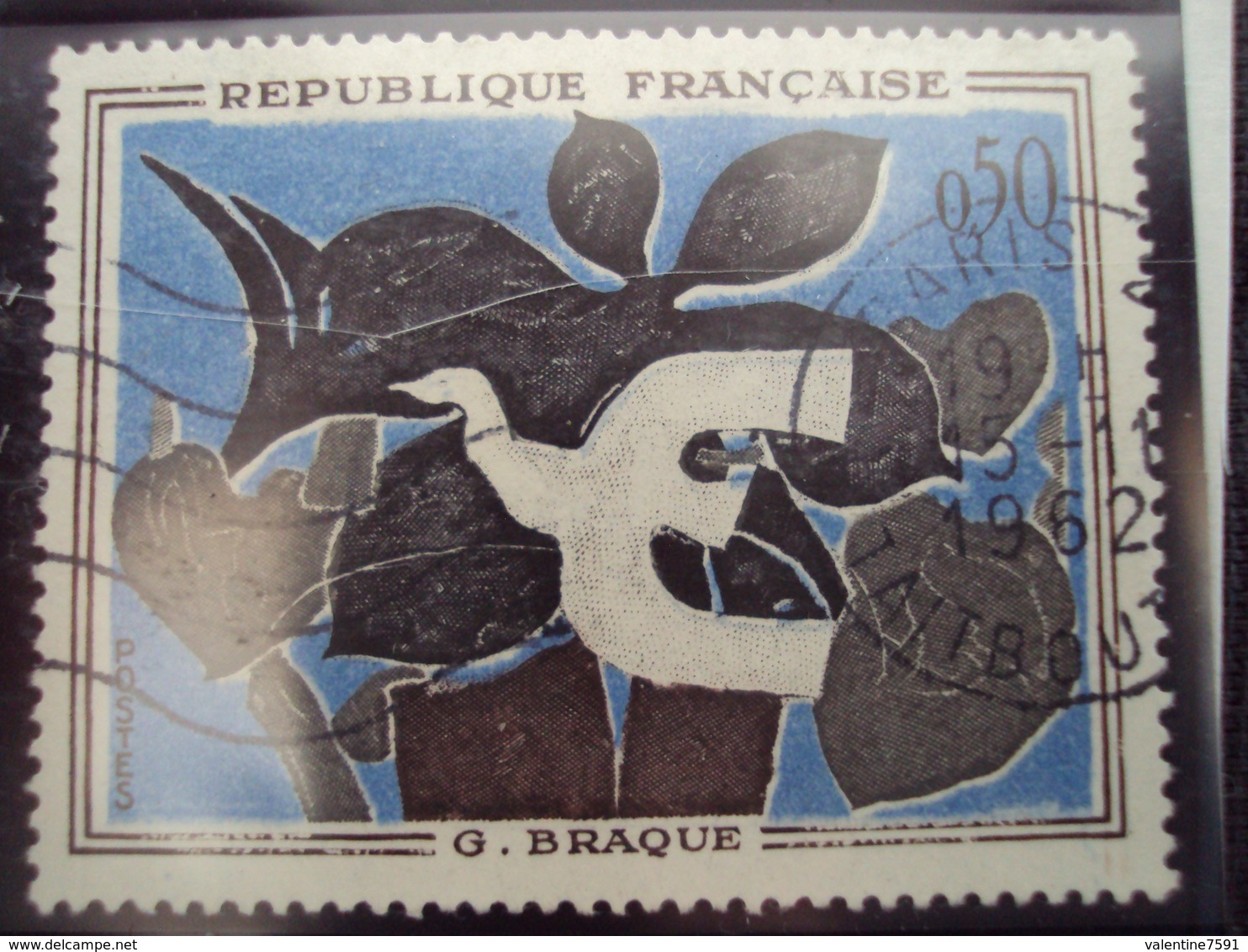 """60-69- Timbre Oblitéré N°  1319a """"liseré Blanc""""       """" Le Messager De Braque   """"  3 Euros - France"""