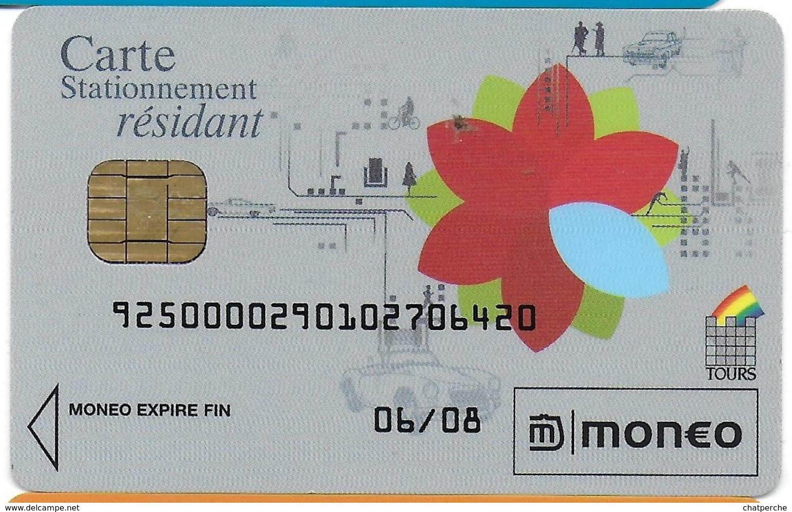 CARTE A PUCE CHIP CARD MONEO CARTE STATIONNEMENT RÉSIDANT VILLE DE TOURS TRACES USAGE MAIS TTB - Monéo