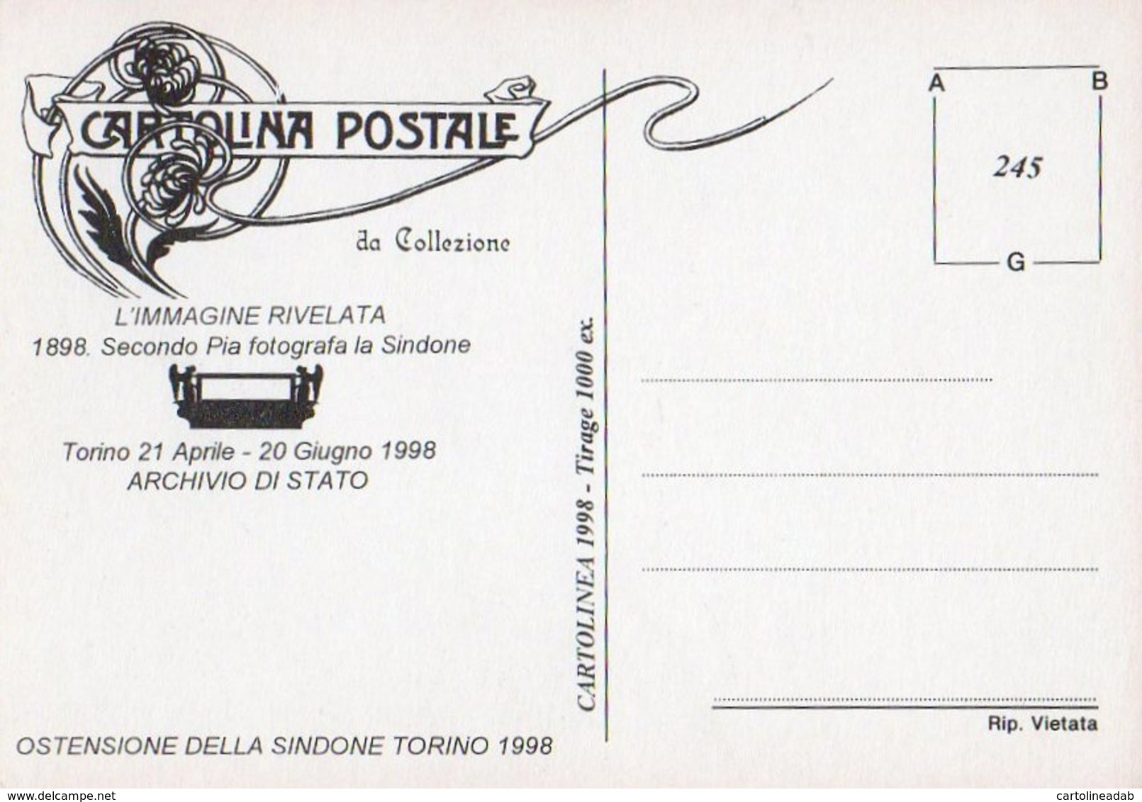 [DC0245] CPM - CARTOLINEA 245 - TORINO - ARCHIVIO DI STATO - OSTENSIONE DELLA SINDONE 1998 - Non Viaggiata - Altri