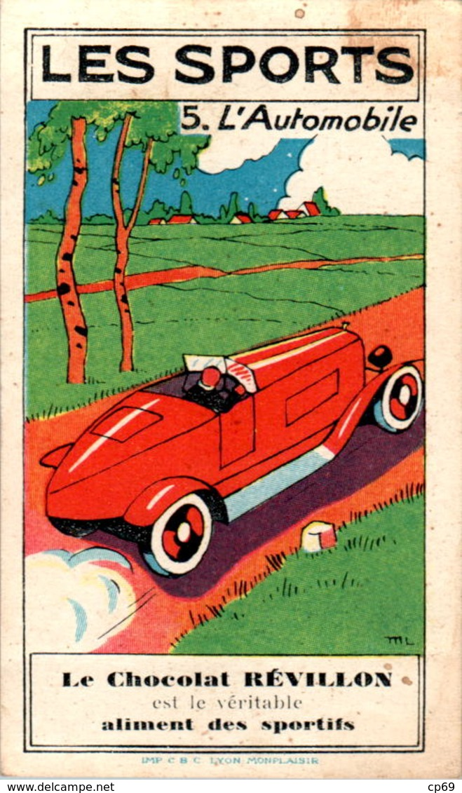 Image Chocolat Révillon Les Sports L'Automobile Car N°5 Texte Au Dos En B.Etat - Altri