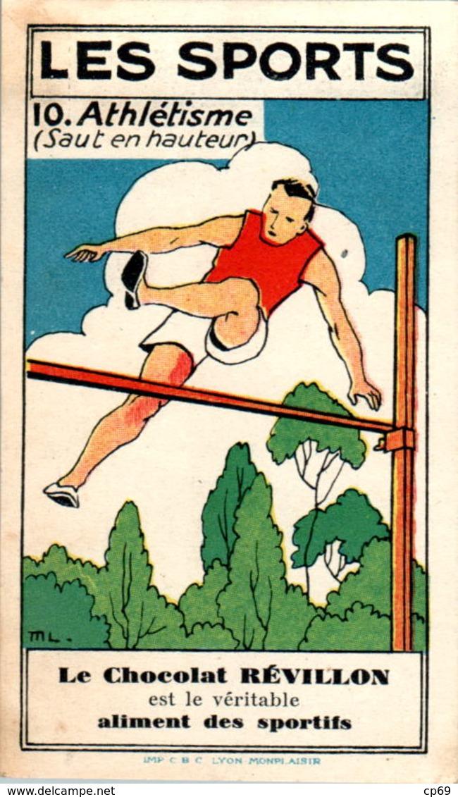 Image Chocolat Révillon Les Sports L'Athlétisme Saut En Hauteur Athletics N°10 Texte Au Dos En B.Etat - Other