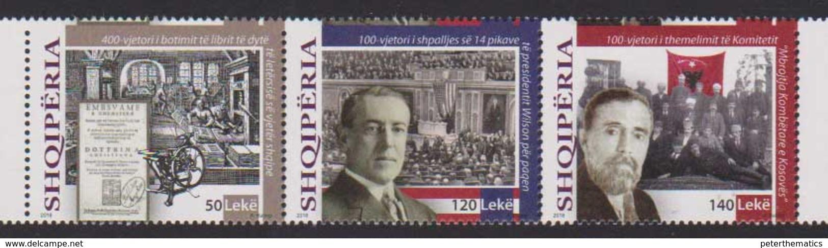 ALBANIA ,2018, HISTORIC EVENTS, PRESIDENT WILSON, 3v - History