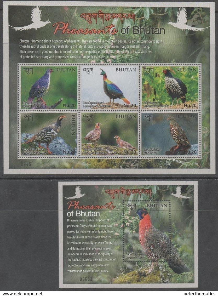 BHUTAN, 2017, MNH, BIRDS, PHEASANTS, SHEETLET+ S/SHEET - Birds