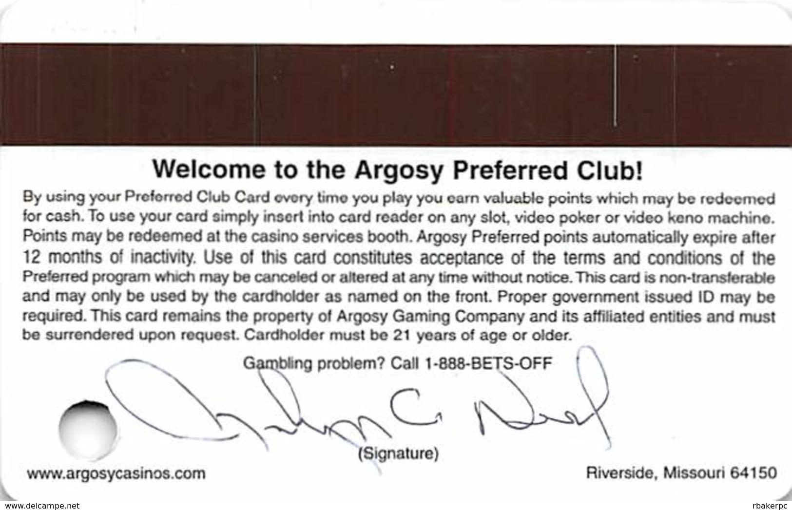 Argosy Casino Riverside, MO - Slot Card With Senior Sticker - Casino Cards