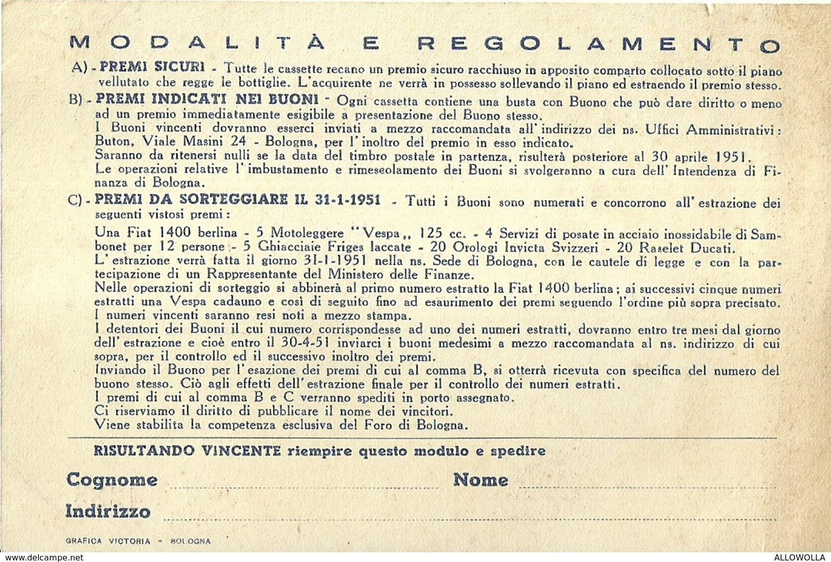 """3061 """" CASSETTE PREMIO 1950 - VECCHIA ROMAGNA BUTON """" COUPON ORIGINALE - Altre Collezioni"""