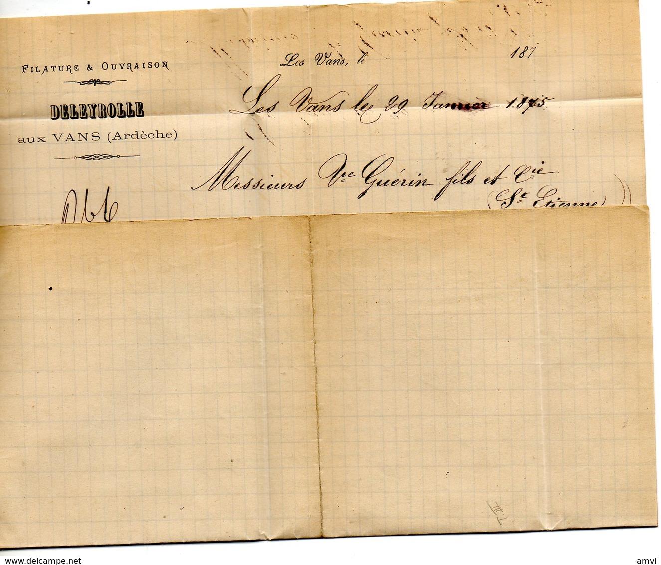 3857 - 25 Centimes Ceres Sur LAC 1875 Cachet GC 4096 Les Vans Ardeche Cachet DELEYROLLE FILATEUR - Marcophilie (Lettres)