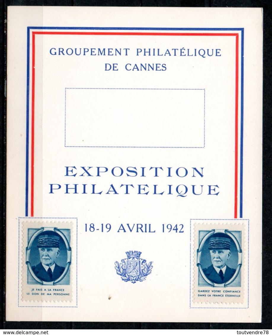 FJ7035 / Dept 06 (Alpes Maritimes) CANNES 1942 > Expo Philatelique Vignette Petain (4 CP) - Erinnophilie