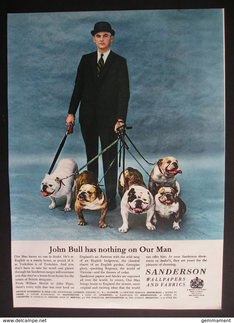 ORIGINAL UNDATED MAGAZINE ADVERT FOR SANDERSON WALLPAPER. BULLDOGS - Advertising