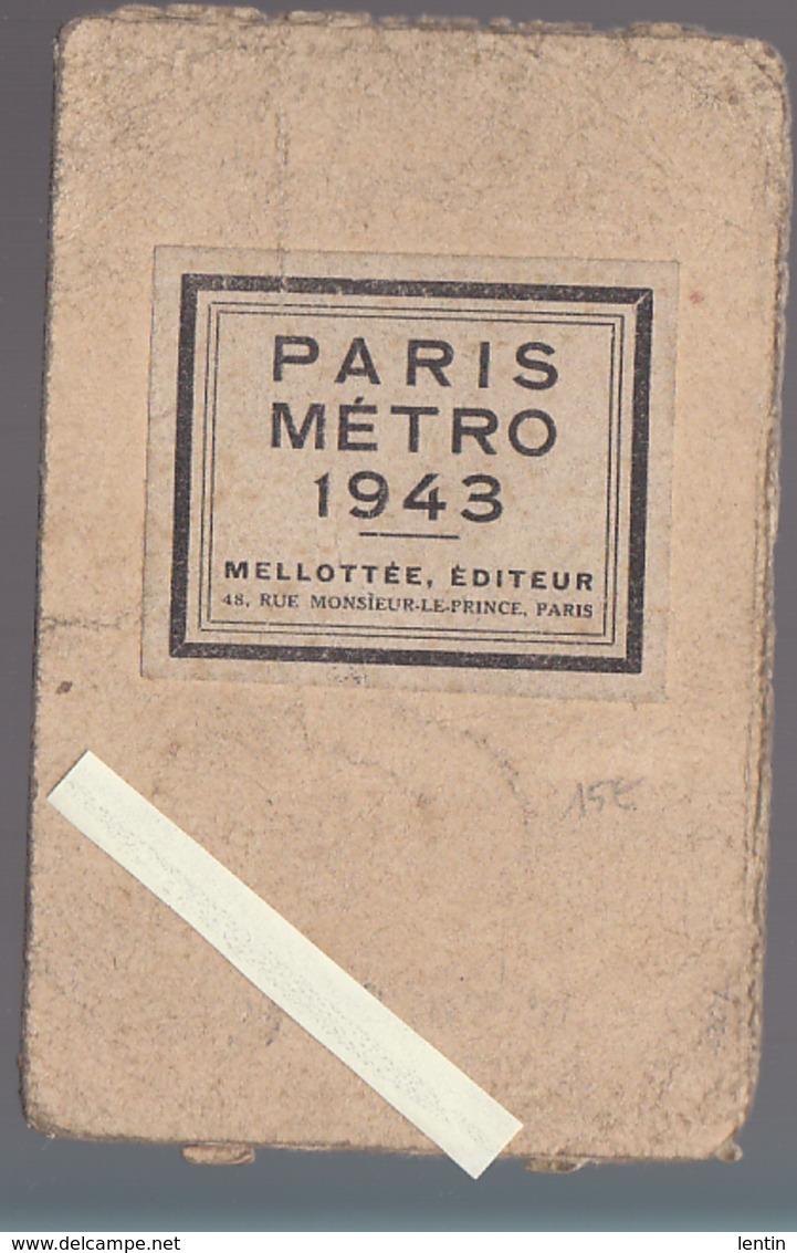 Paris - Plan Métro 1943 (pendant Guerre 39/45) éd Mellottée - Guides Conty - Europe