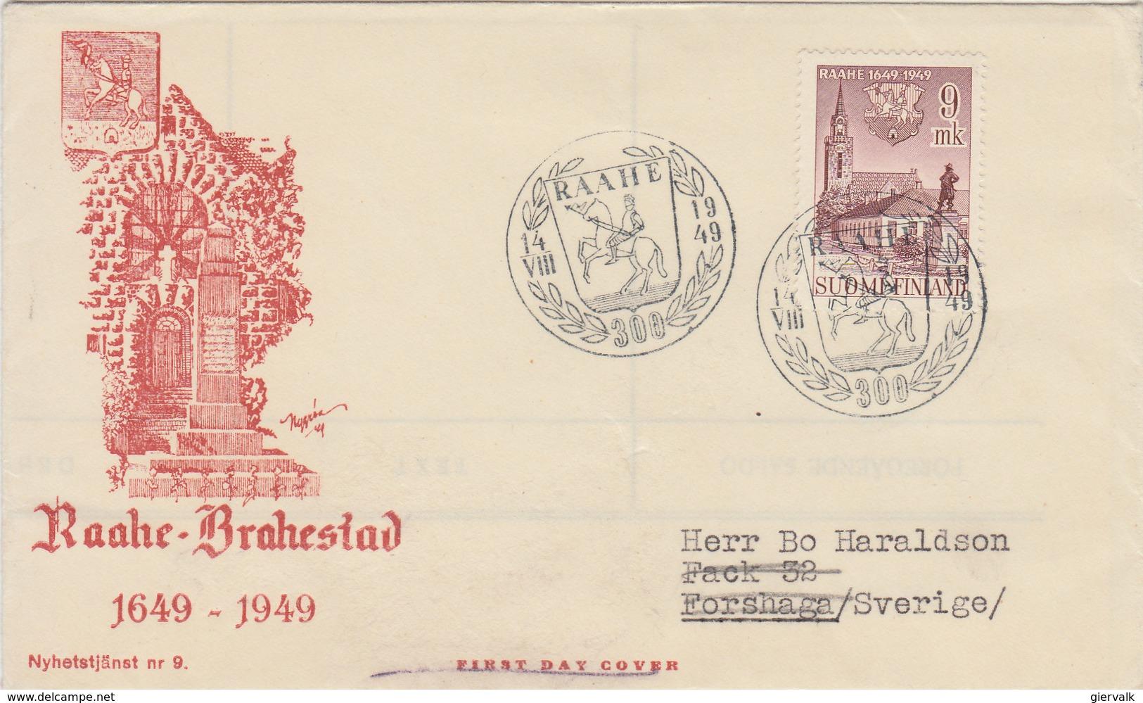 FINLAND 1949 FDC 300 Years RAAHE - BRAHESTAD.BARGAIN.!! - FDC