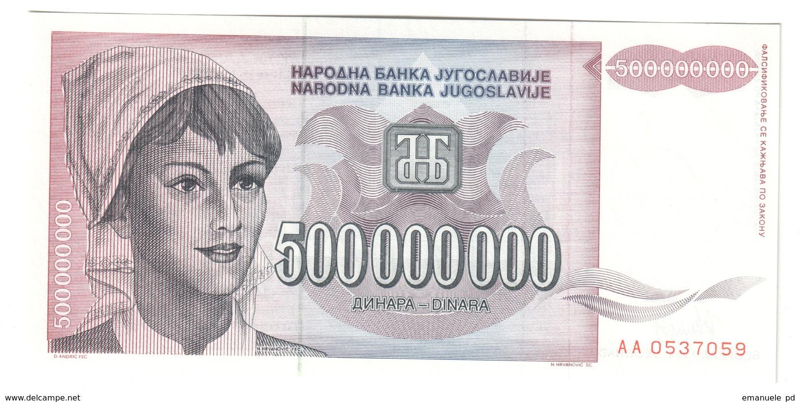 Yugoslavia 5000000000 Dinara 1993 UNC .C3. - Jugoslavia