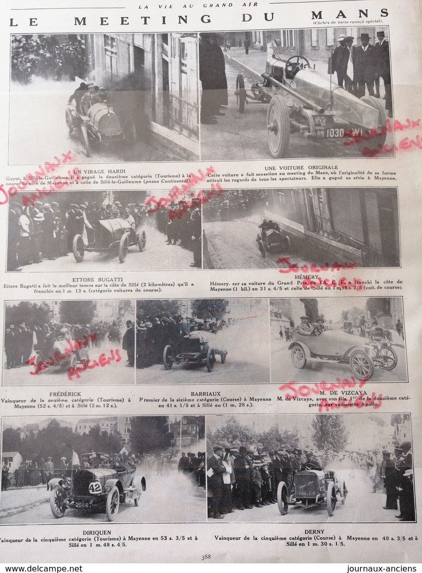 1912 AUTOMOBILE - LE MEETING DU MANS - HEMERY - ETTORE BUGATTI - BARRIAUX - DERNY ETC.... - Journaux - Quotidiens