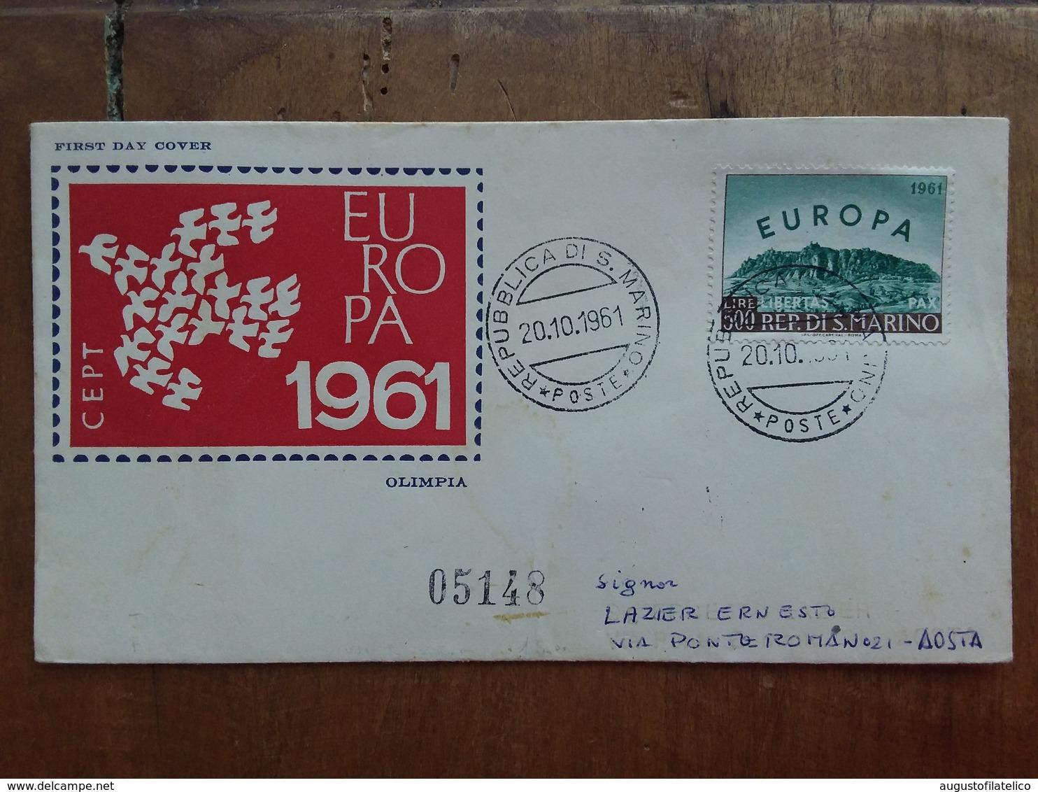 SAN MARINO - Europa 1961 Su Busta Viaggiata - Con Annullo Arrivo + Spese Postali - FDC