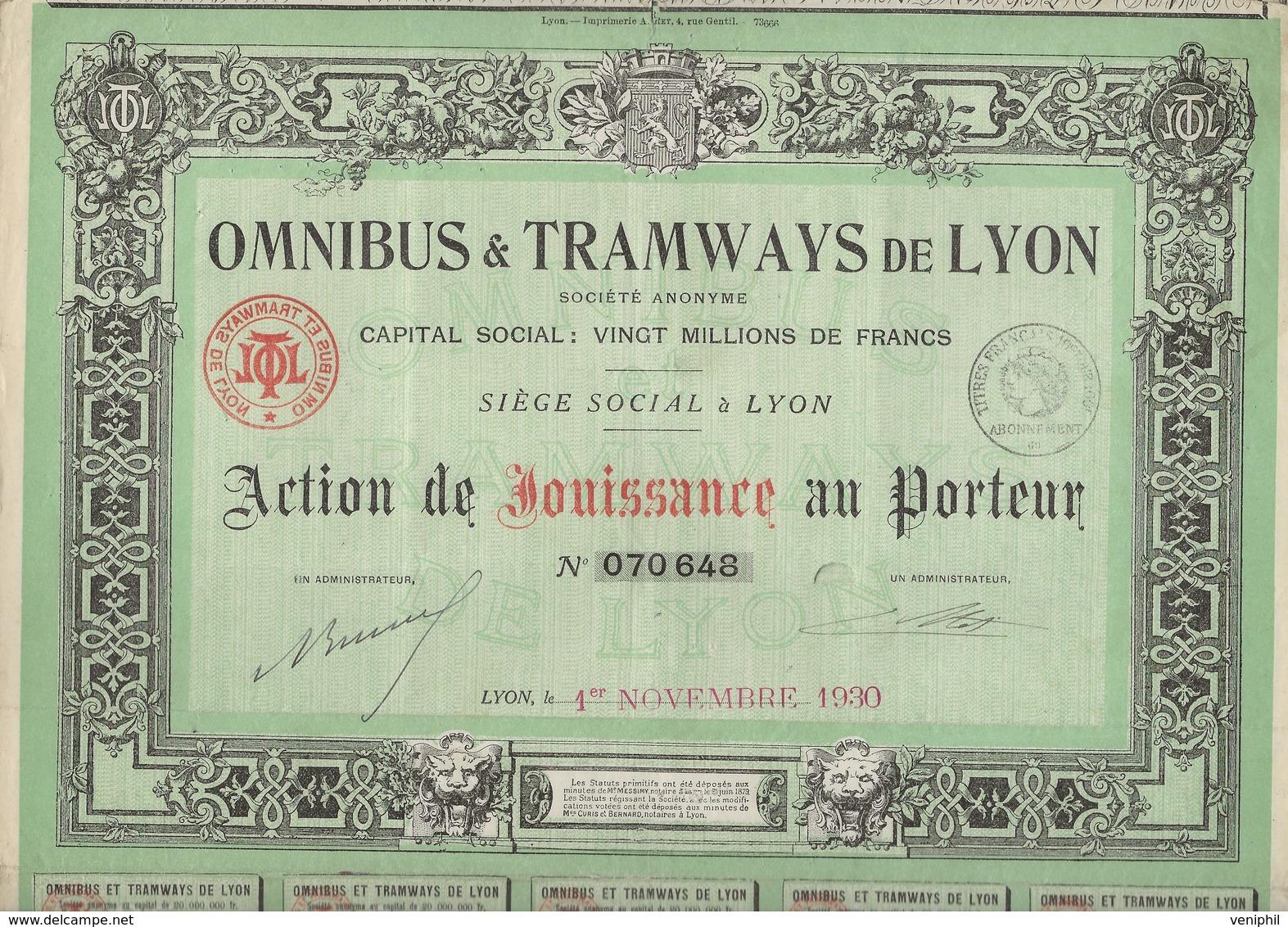 LOT DE 5 ACTIONS DE JOUISSANCE -OMNIBUS ET TRAMWAYS DE LYON - ANNEE 1920-27-30-35-37- - Chemin De Fer & Tramway