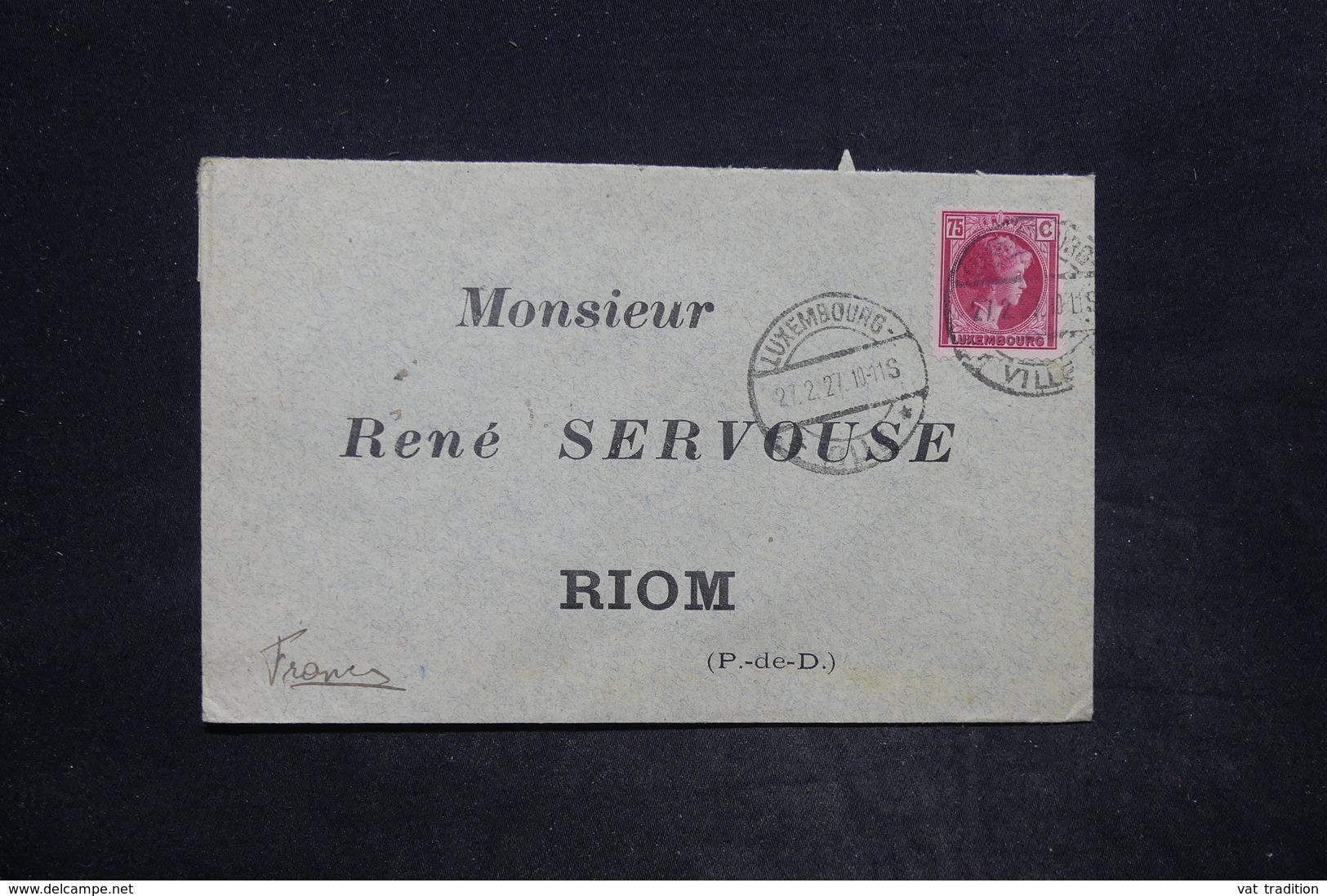 LUXEMBOURG - Affranchissement De Luxembourg Sur Enveloppe Pour La France En 1927 - L 25893 - Luxembourg