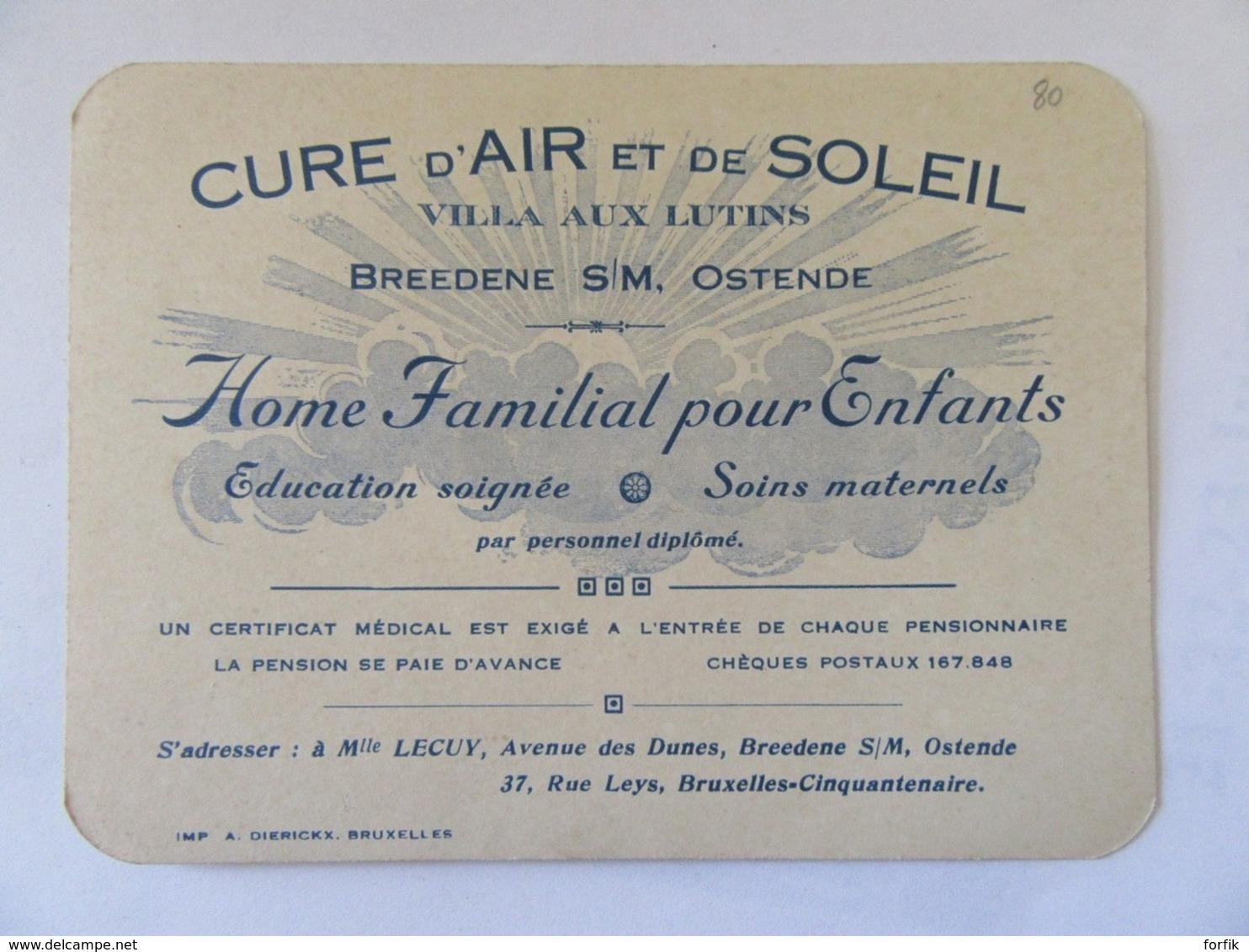 Belgique - Carte Publicitaire De La Villa Aux Lutins, Cure D'Air Et De Soleil - Breedene Sur Mer / Ostende - Advertising
