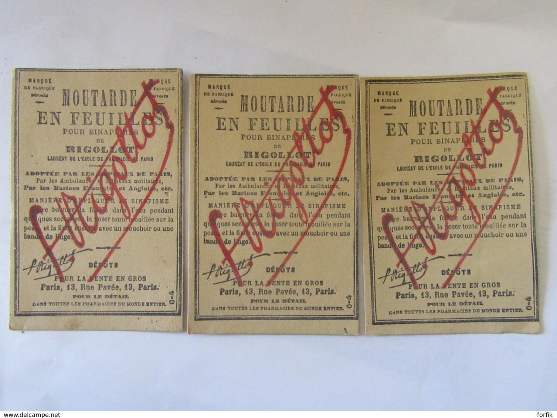 3 Cartes Publicitaires Moutarde En Feuilles Pour Sinapismes De Rigollot - Advertising