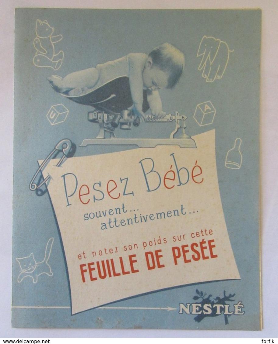 """Carte Publicitaire Nestlé Ouvrante - """"Feuille De Pesée De Bébé"""" - Advertising"""