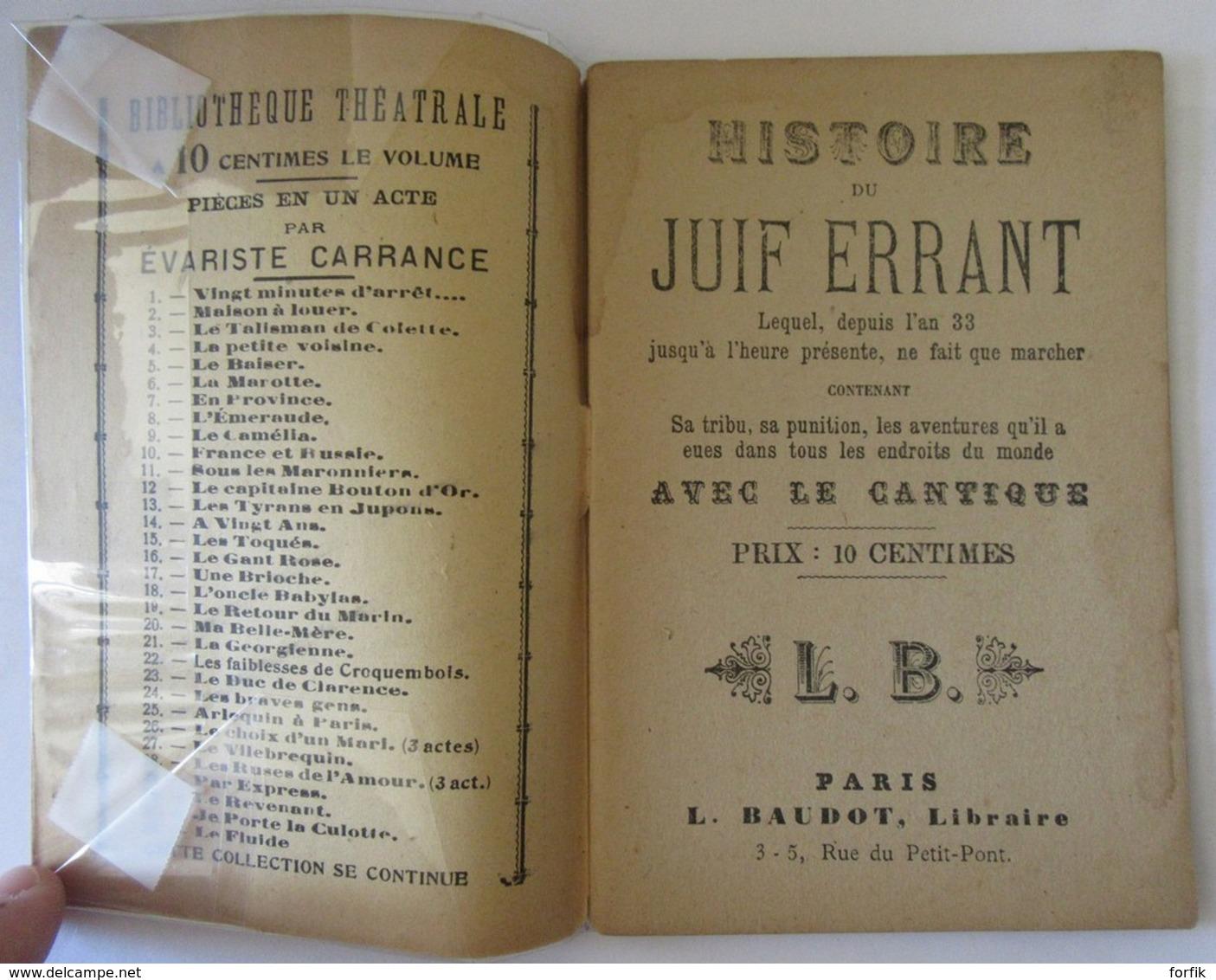 Histoire Du Juif Errant Suivi Du Cantique - L. BAUDOT Paris - Books, Magazines, Comics