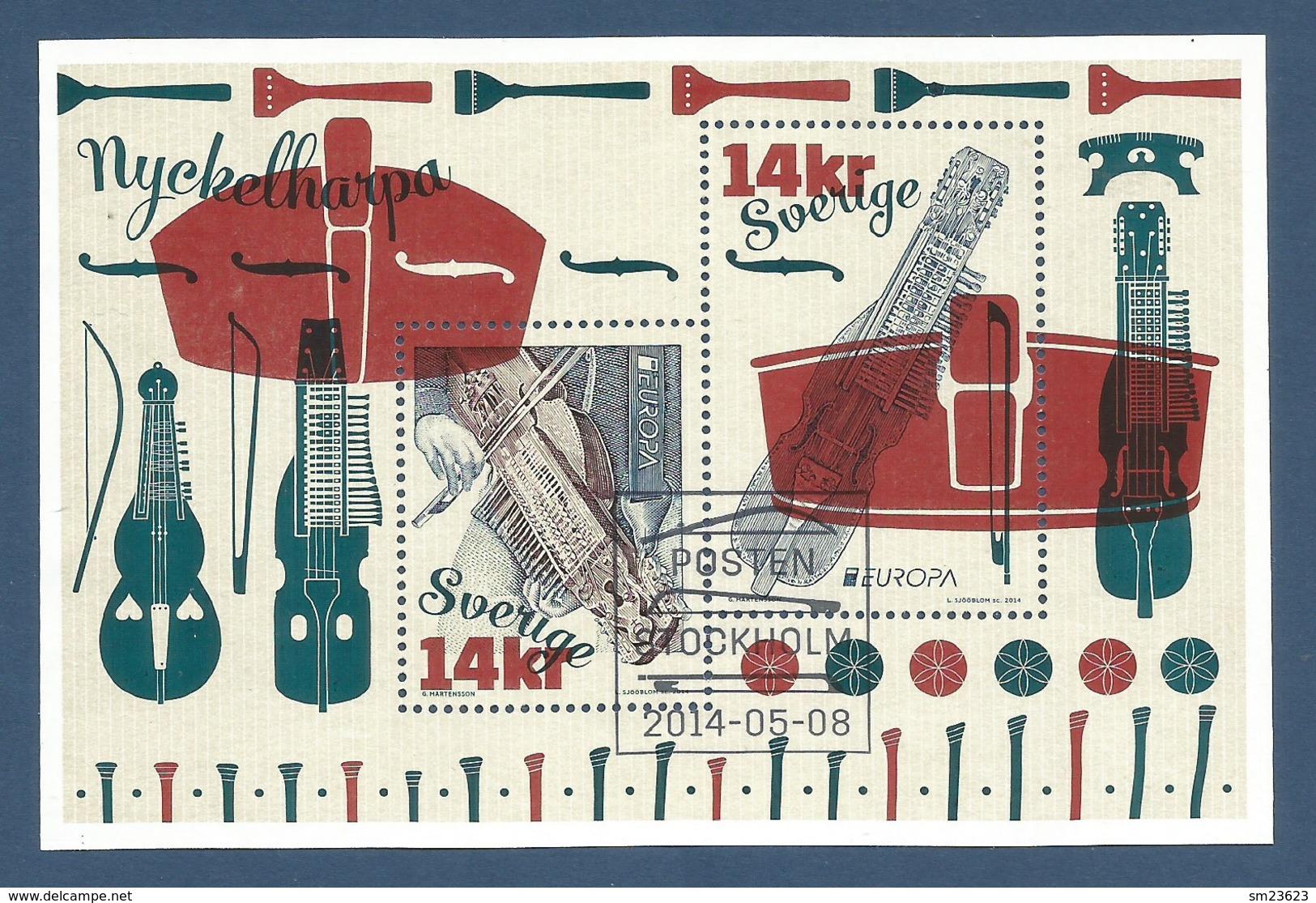 Schweden / Sverige  2014  Mi.Nr. Block 49 (2996/97) , EUROPA CEPT - Musikinstrumente - Gestempelt / Used / (o) - Europa-CEPT