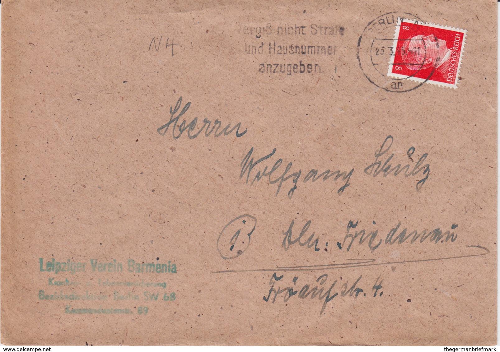 DR 3 Reich Späte Post Mi 786 EF Bf MWSt Berlin März 1945 - Storia Postale