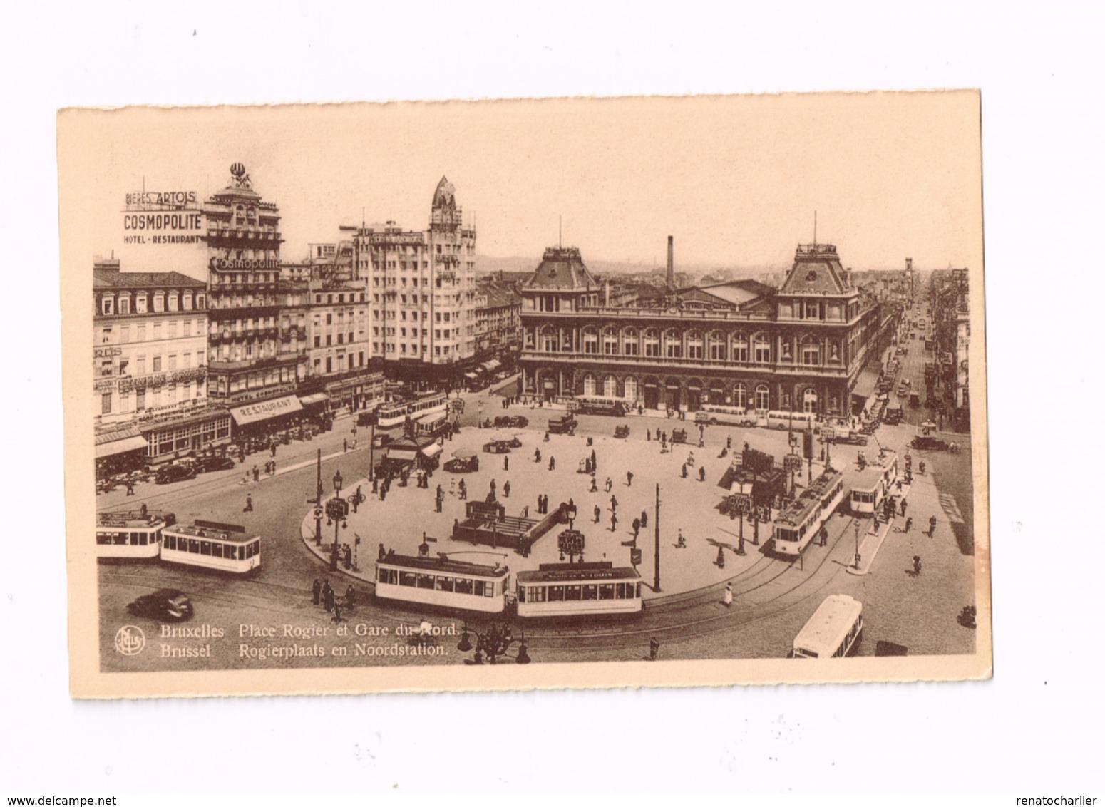 Place Rogier Et Gare Du NOrd.Autos.TRamways. - Chemins De Fer, Gares