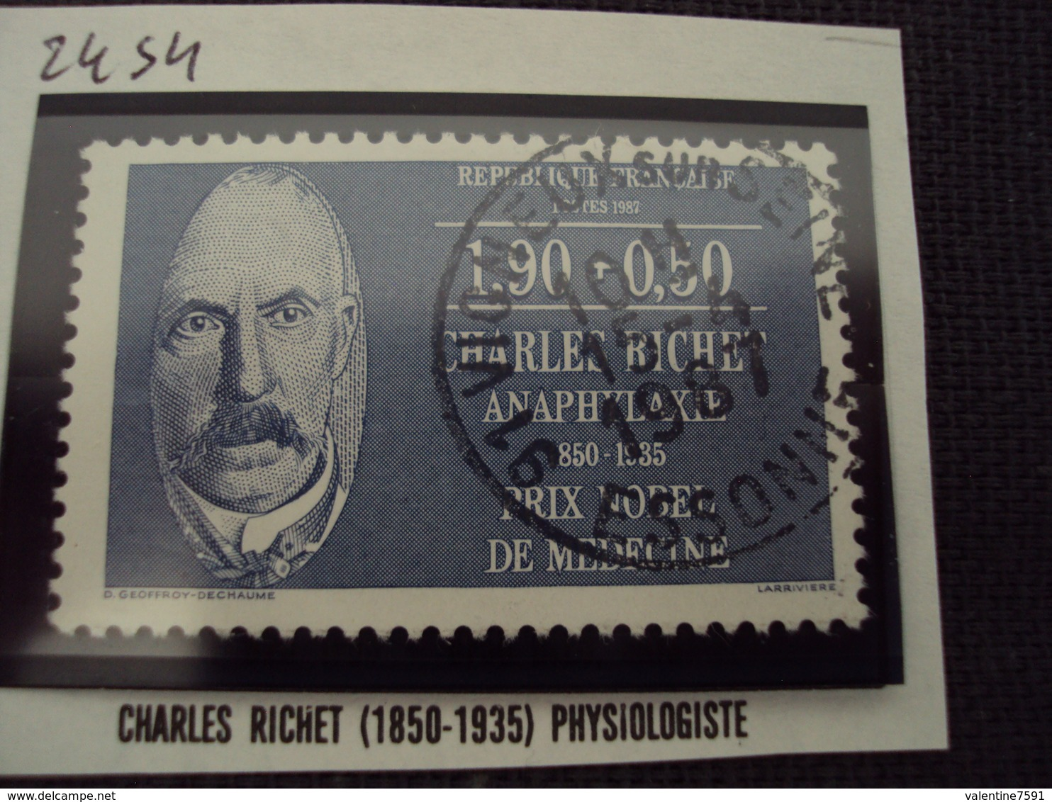 "80-89 Timbre Oblitéré N° 2454   "" Charles Richet   ""  1 Euro - France"
