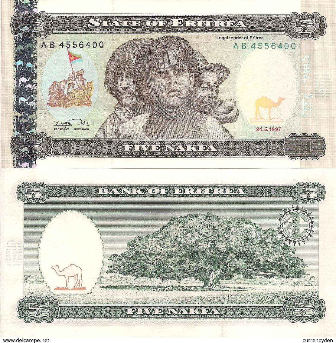 Eritrea P2, 5 Nafka, 1997, Fighters Raising Flag / Jacaranda Tree UNC See UV - Eritrea