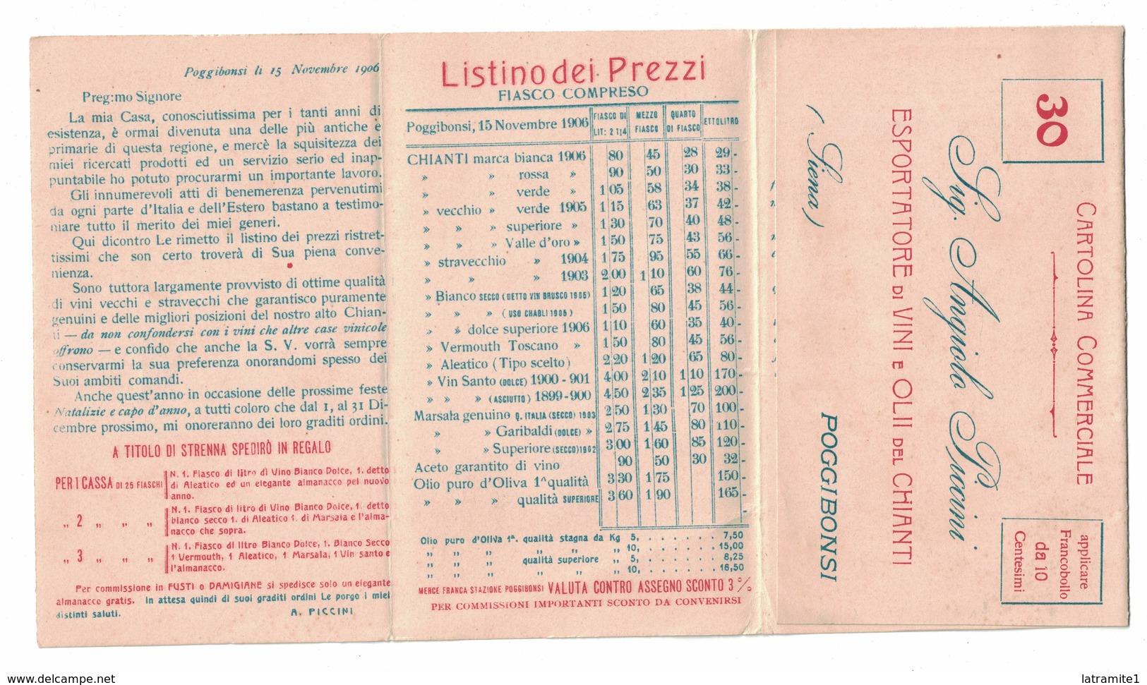 CARTOLINA CARTE POSTALE VINI ED OLII DEL CHIANTI ESPORTATORE ANGIOLO PICCINI POGGIBONSI - Pubblicitari