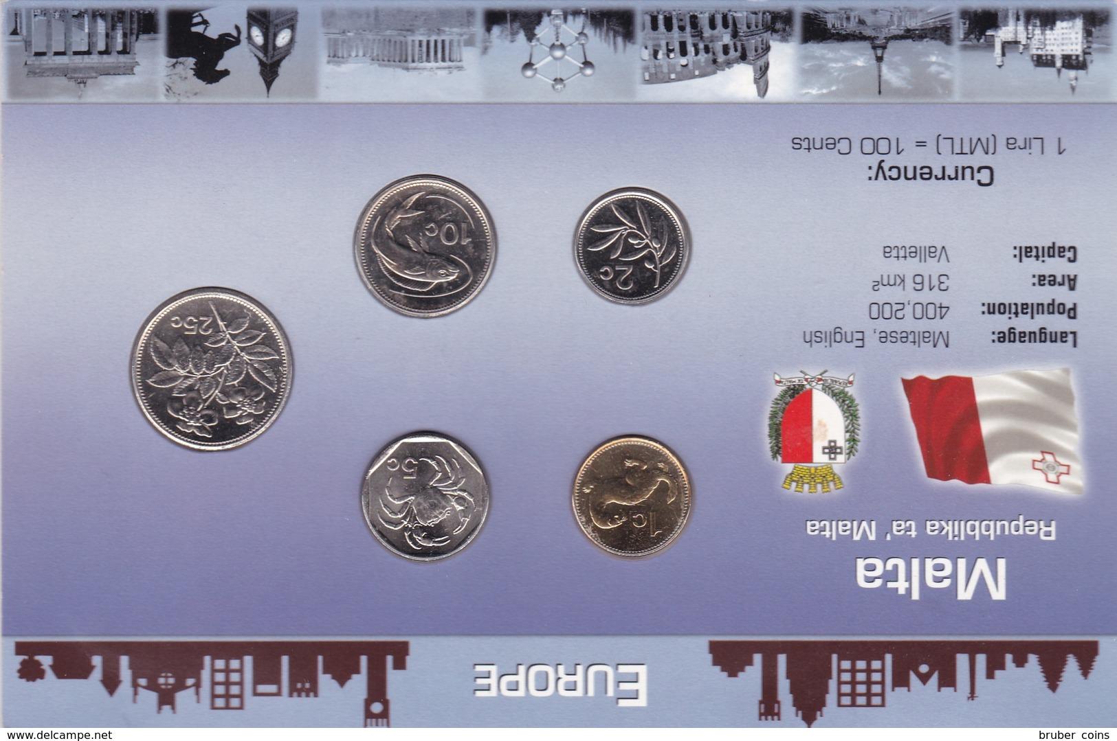 MALTA SERIE 5 MONETE 25-10-5-2-1 CENT FDC IN BLISTER ORIGINALE - Malta