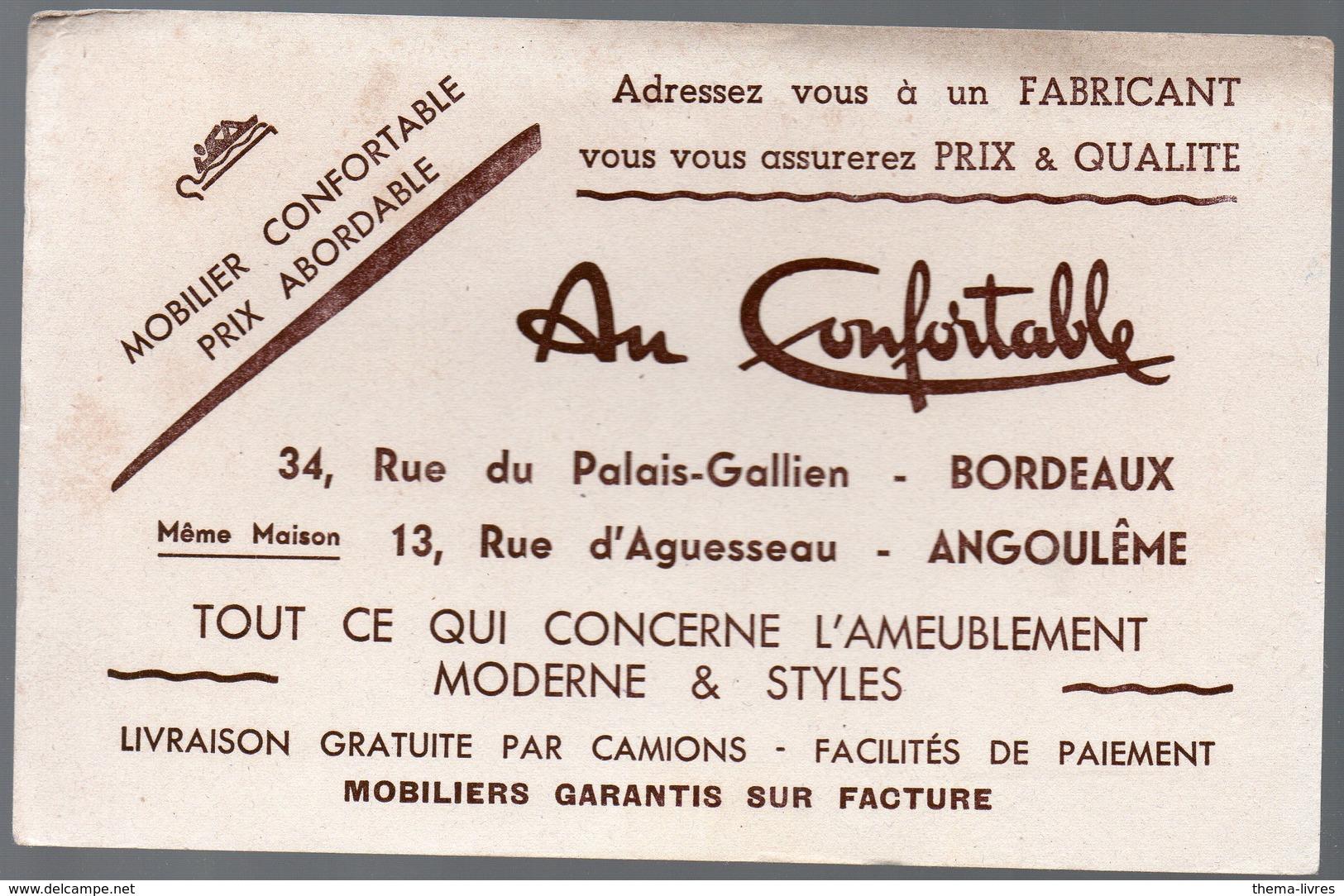 Bordeaux / Angoulème : Buvard  AU CONFORTABLE (mobilier)  (PPP10444) - Carte Assorbenti