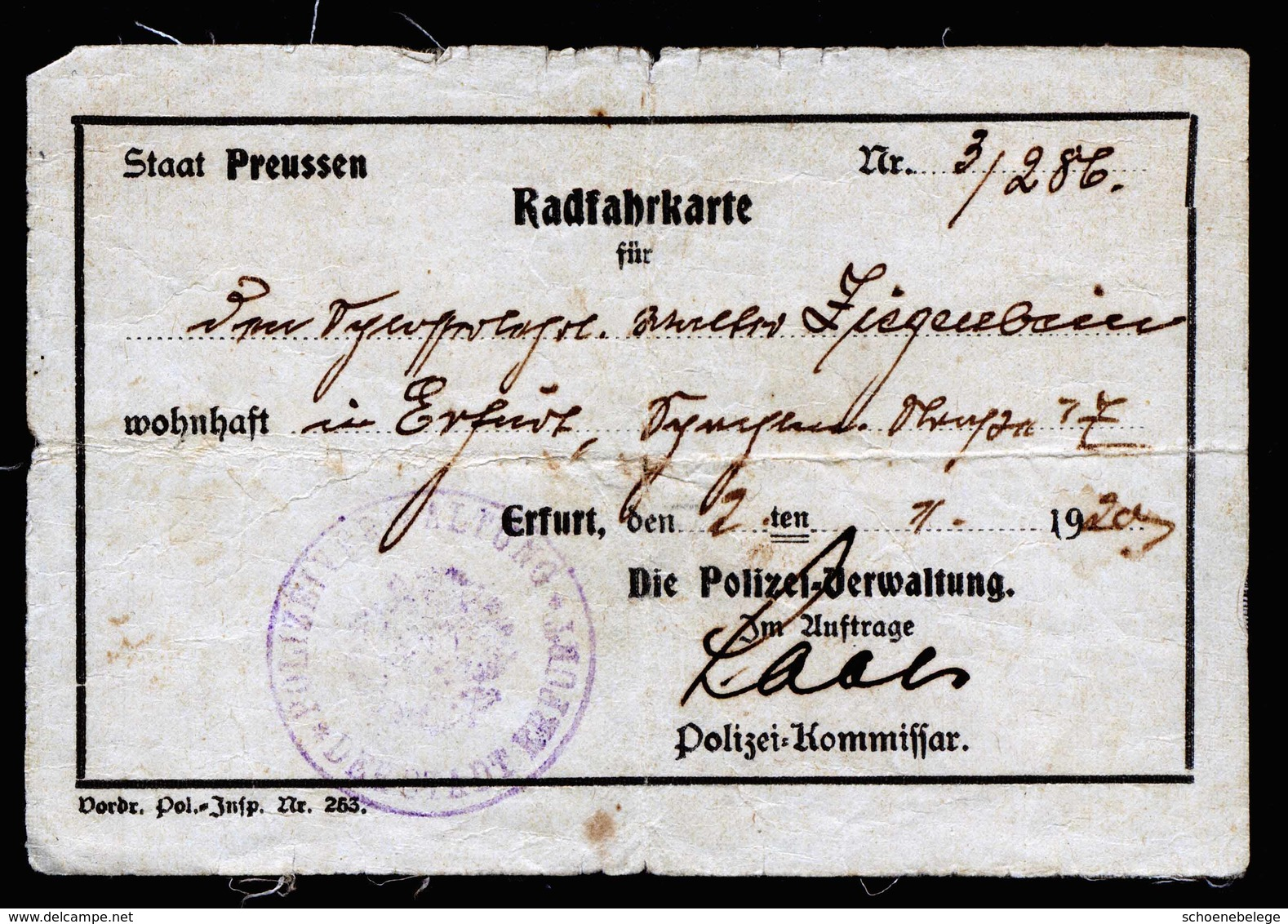 A5993) Erfurt Radfahrkarte 1920 Mit Polizeisiegelstempel - Historische Dokumente