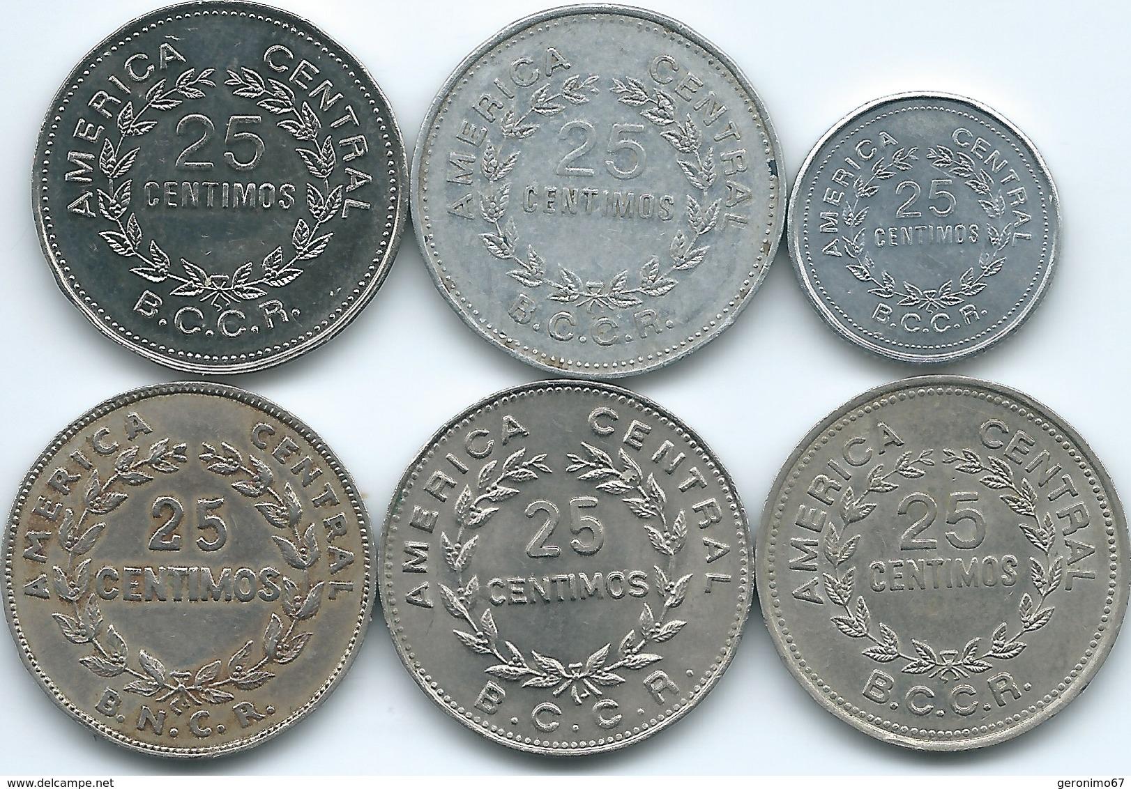 Costa Rica - 1948 - 25 Centimos (KM175) 1972 (KM188.2) 1978 (KM188.1) 1980 (KM188.1a) 1982 (KM188.1b) & 1983 (KM188.3) - Costa Rica
