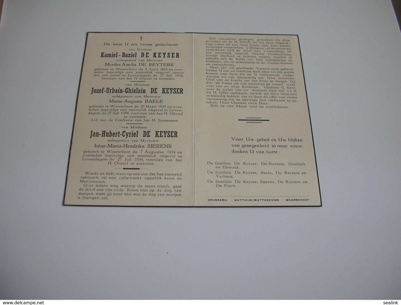 Bidprentje V. Kamiel ,Jozef, Jan De Keyser Geboren Te Waarschoot En Overled. Te Lovendegem 1954;De Reytere;Baele;Sierens - Images Religieuses