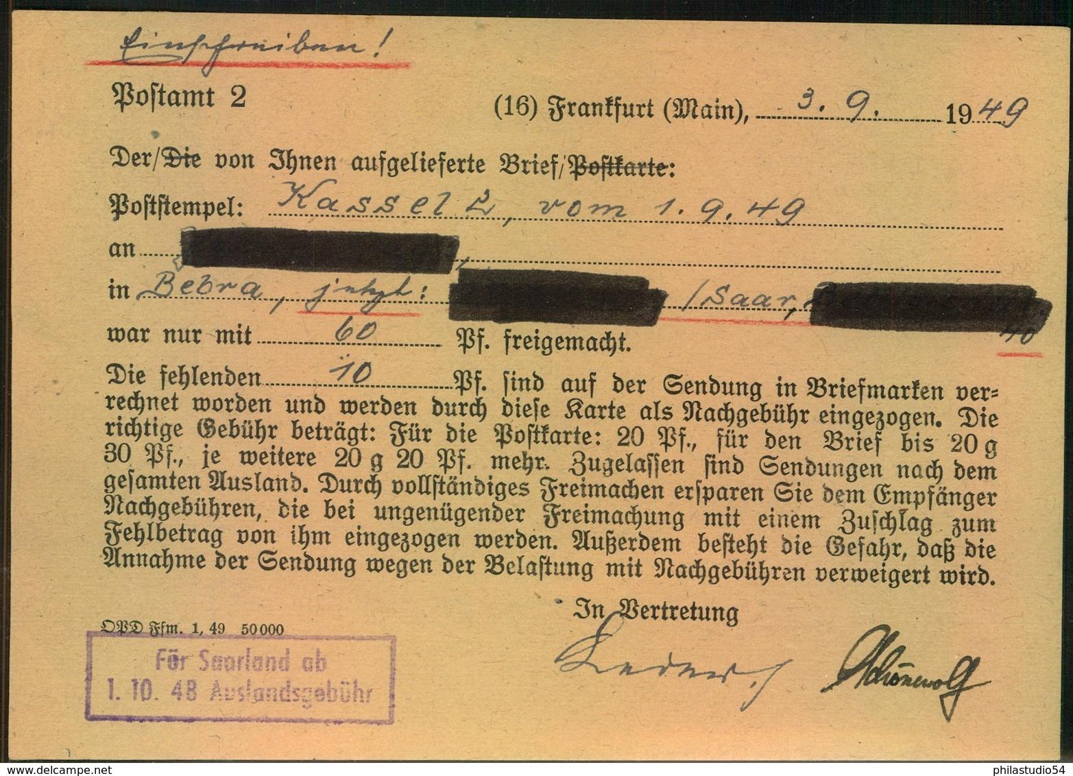 """1949, Postsache """"FRANKFURT(MAIN) AUSLANDSSTELLE Wegen Fehlendem Porto Nach Kassel. Dort Handschriftlicher R-Vermerk. RR! - Bizone"""
