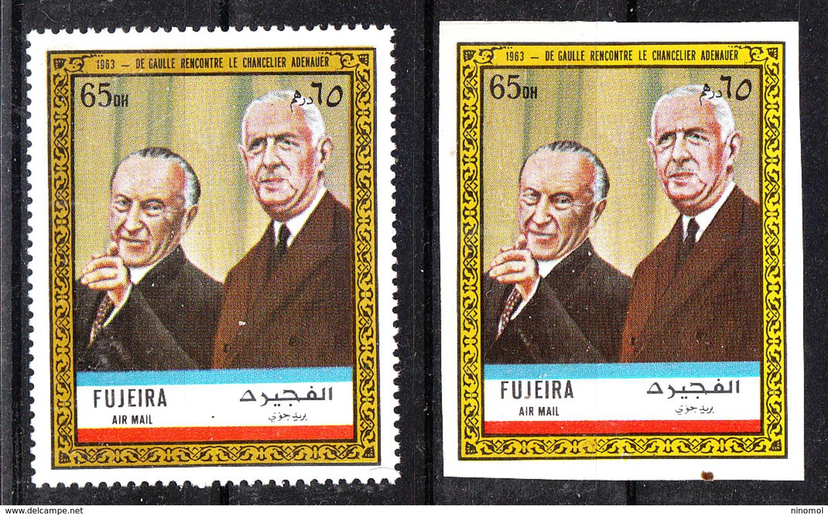 Fujeira - 1972. De Gaulle Con Adenauer. Perf.  E  Imperf. MNH  Stamps. Rare! - De Gaulle (General)