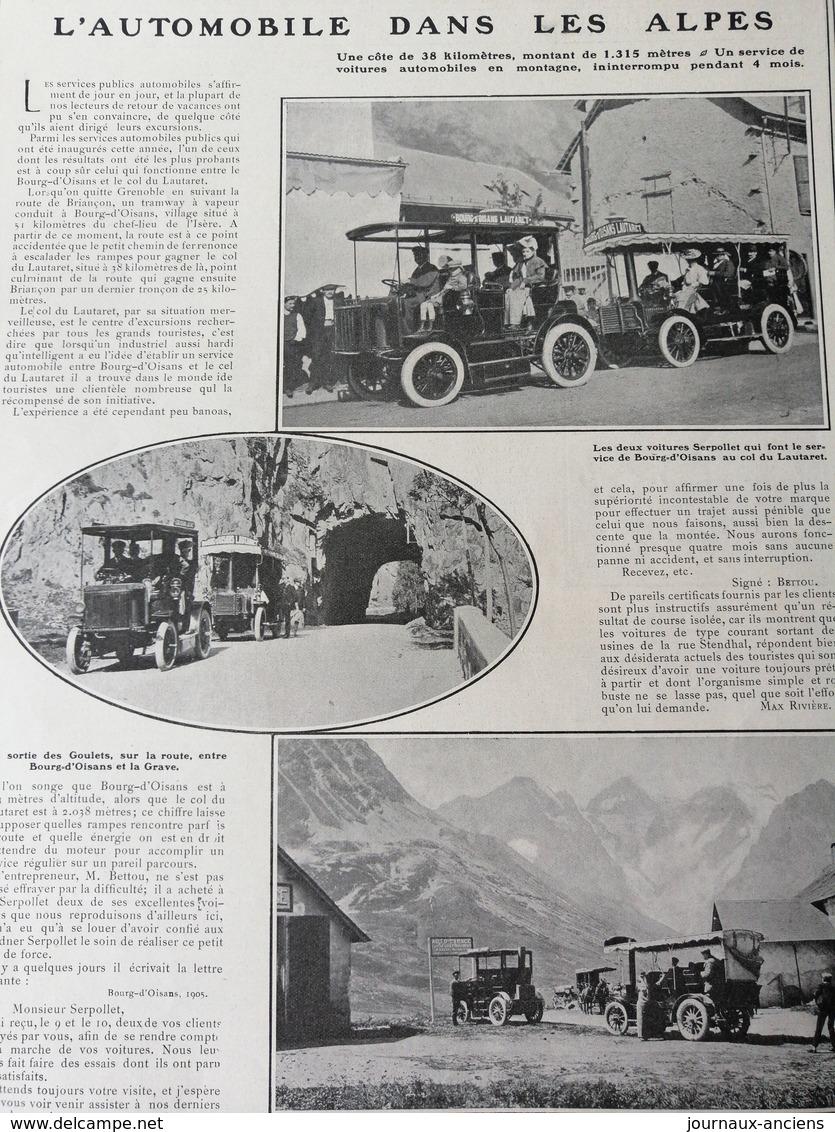 1905 L'AUTOMOBILE DANS LES ALPES - BOURG D'OISANS COL DE LAUTARET.- VOITURE SERPOLLET - Journaux - Quotidiens