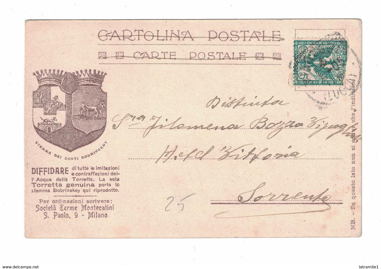 CARTOLINA CARTE POSTALE  SORGENTE LA TORRETTA MONTECATINI - Pubblicitari