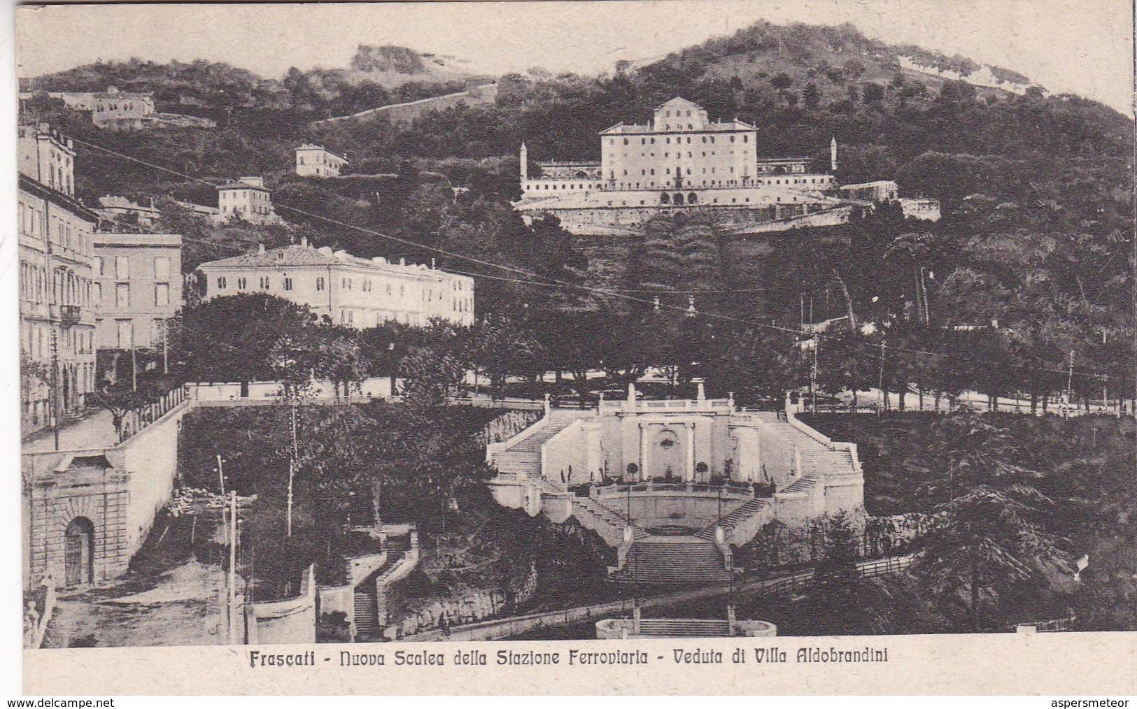 FRASCATI. NUOVA SEALEA DELLA STAZIONE FERROVIA. VEDUTA DI VILLA ALDOBRANDINI. ED F.LLI CIANI. CPA CIRCA 1900s - BLEUP - Italia