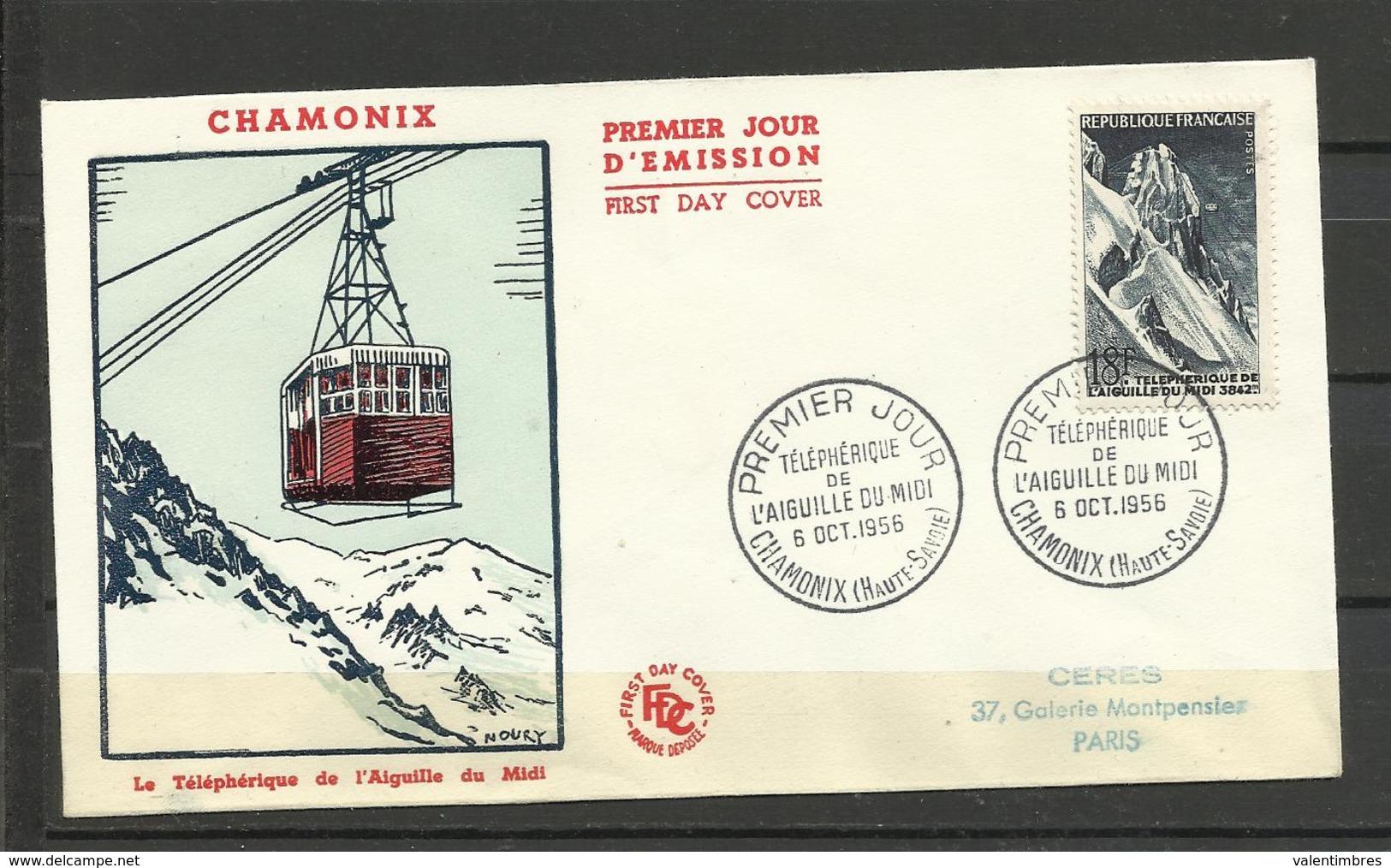 France  FDC YT 1078 Téléphérique Aiguille Du Midi Chamonix 8.10.1956 Montagne - FDC